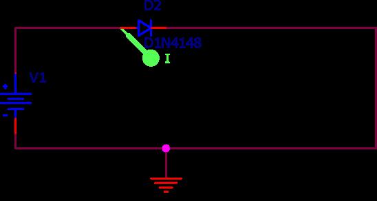 Schéma électrique utilisé pour simuler la caractéristique I-V d'une diode par le programme SPICE.