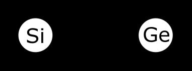 Modèle simplifié de l'atome de Si et de Ge montrant le noyau et les électrons périphériques.