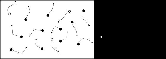 vision simplifiee d'un cristal de type N de silicium avec ses porteurs majoritaires et minoritaires.