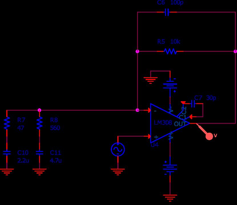 Circuit utilisé pour la simulation SPICE.
