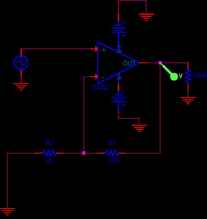 Circuit non inverseur utilisé dans la simulation SPICE. Le générateur de tension sinusoïdal modélise le son de la guitare. Son amplitude est de 1 V et sa fréquence balaye de 10 Hz à 50 kHz.