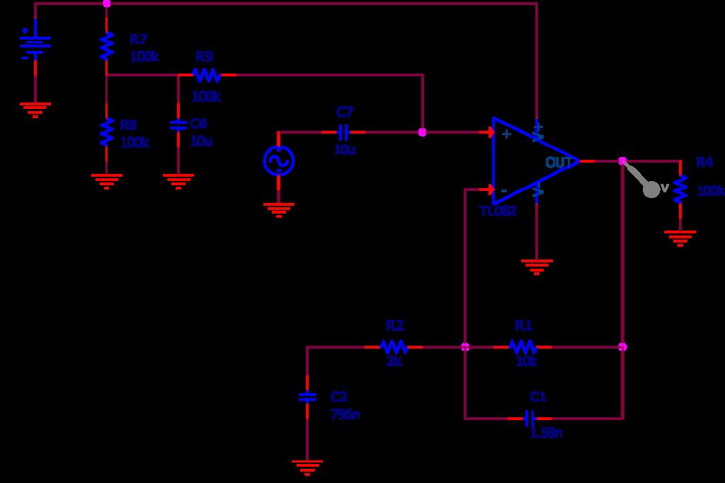 Circuit amplificateur alimenté en mono tension utilisé dans la simulation SPICE. Les conditions de simulations sont les mêmes que précédemment.