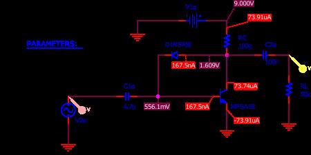 Figure 6 : simulation de la Bazz Fuss avec un transistor MPSA18 et une LED rouge.