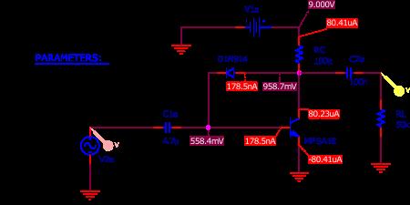 Figure 5 : simulation de la Bazz Fuss avec un transistor MPSA18.
