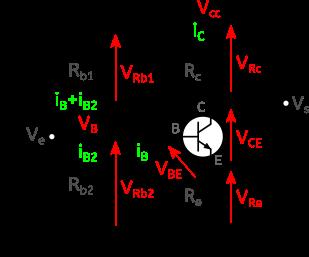 Figure 4 : Autre montage émetteur commun avec stabilisation par contre-réaction de l'émetteur et indépendance en beta.