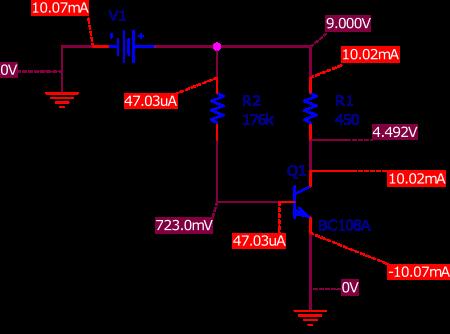 Simulation SPICE du montage émetteur commun d'un transistor bipolaire de type NPN.