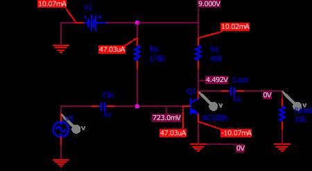 Figure 3 : circuit utilisé pour la simulation. Le résultat sur les courants et tensions apparaît.