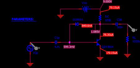 Figure 2 : circuit de la Bazz Fuss utilisé pour la simulation SPICE