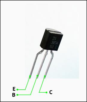 Transistor utilisé dans cette pédale de fuzz : un transistor bipolaire NPN modèle 2N3904. Cette figure vous aidera à identifier les 3 broches.