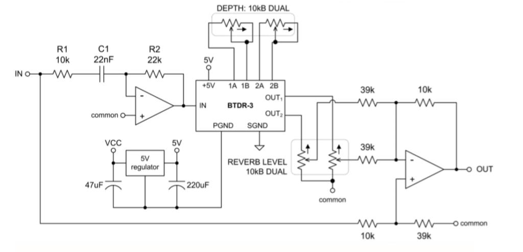 Circuit électrique d'effet de réverbération contenant la BTDR-3 (d'après [3])