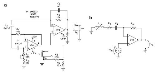Figure 6 : circuit de pédale wha wha utilisant un circuit gyrateur. À droite, son circuit équivalent. D'après [6].