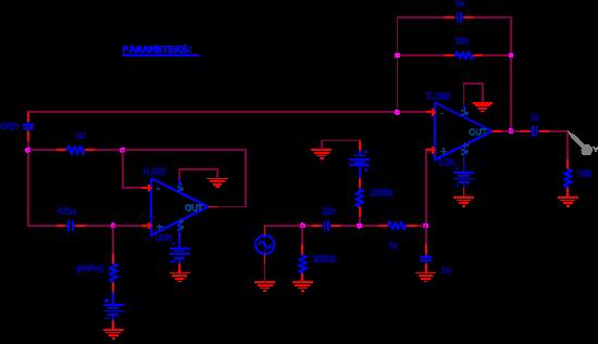 Figure 8 : circuit de la figure 7 entré dans le simulateur.