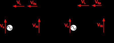À gauche : circuit du micro guitare connecté à l'entrée de l'ampli. À droite : résolution par la méthode des impédances équivalentes.