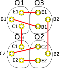 Connexion entre les plots qui servent à insérer les transistors (vue du dessus).