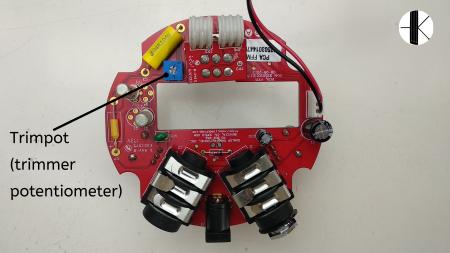 Circuit imprimé de la Fuzz Face mini Red. Le trimpot est indiqué.