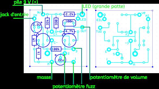 Perfboard vu du dessus de la Fuzz Face modifiée avec les composants et du dessous sans les composants. La vue du dessous est utile pour faire les pistes en étain. Les différentes connexions à faire avec le reste de la pédale sont indiqués à gauche. En cliquant sur l'image, vous aurez une vue agrandie de la photo.