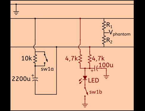 Figure 3 : Circuit d'une pédale de mute pour micro dotée d'un voyant lumineux alimenté par l'alimentation fantôme du système audio. La résistance de 10 kohms en série avec le condensateur de 2200 uF et l'interrupteur ont été expliqué dans le précédant article et constituent le système de mute. Les résistances de 4,7 kohms permettent de ne pas mettre en contact les fils 2 et 3.