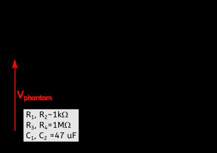 Figure 1 : Schéma électrique d'une alimentation fantôme. Celle-ci met les broches 2 et 3 à une tension continue Vphantom qui peut valoir 12 V, 24 V ou 48 V en général. Ainsi, les broches 2 et 3 portent le signal du micro et une tension continue. En sortie, seul le signal audio est transmis sur les broches 2 et 3. En effet, la tension continue est bloquée par les condensateurs C1 et C2 .
