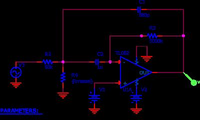 Ré-création DIY #1 : Gargletron / Circuit utilisé pour la simulation PSPICE d'un des filtres.