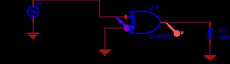 Circuit utilisé pour la simulation PSPICE de la 1ère porte du circuit.