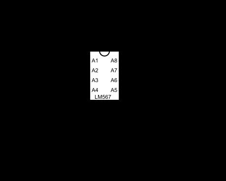 Circuit modifié du Thing Modulator basé sur un LM567. Le switch du haut active un filtre passe bas qui limite l'oscillation. Le switch du bas permet de changer la valeur du condensateur relié à la broche nº6, ce qui a pour effet de changer radicalement le son de l'effet.