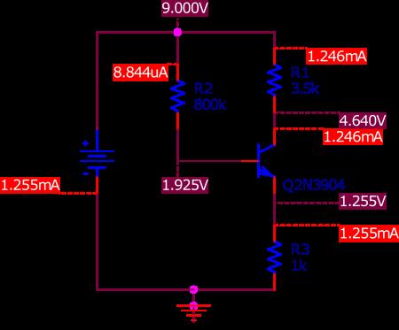 Circuit de polarisation d'un transistor NPN que nous utilisons ici pour commenter les différentes unités et leur ordre de grandeur.