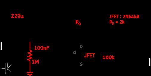 Circuit du Duende JFET adapté au 2N5458. Les modifications que j'ai apportées apparaissent en rouge.