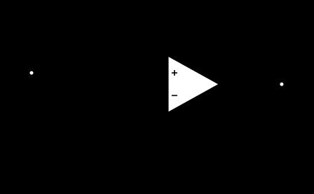 Montage non inverseur d'un ampli op en alimentation simple. Ce circuit permet de n'utiliser qu'une seule pile, mais il n'est pas recommandé car il est instable.