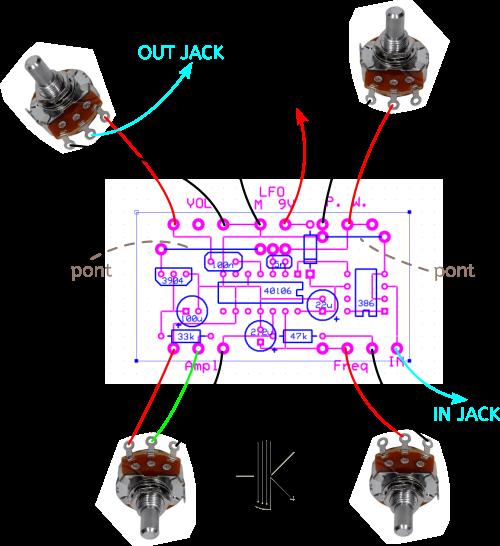 Différentes connections du perfboard vers les potentiomètres, les jacks audio (entrée et sortie) et l'alimentation.