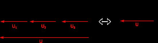 Calcul de la capacité équivalente pour 3 condensateurs placés en série.