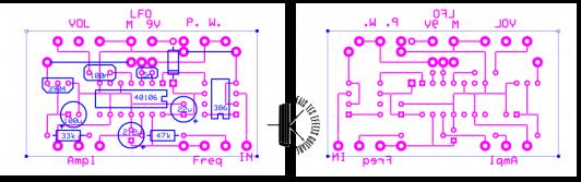 Perfboard que j'ai désigné pour monter la distorsion PWM. Cliquez sur l'image pour l'aggrandir.