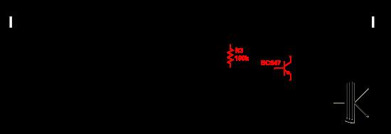 One Knob Noise Gate modifié pour transistor bipolaire (les modifications apparaissent en rouge, voir le texte pour le détail).