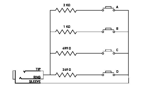 Schéma pour se fabriquer un footswitch soi même pour le Tensor (d'après [1]).