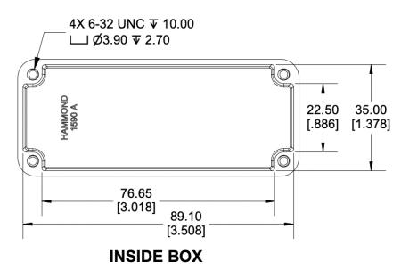 Comment fabriquer un mini ampli guitare : dimensions de la boîte métallique utilisée comme châssis.